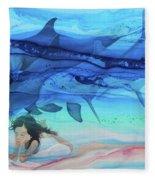 Little Girl Painter Fleece Blanket