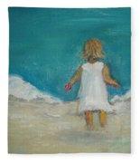 Little Girl Playing On Beach Fleece Blanket