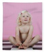 Little Girl Sits On A Checkered Floor Fleece Blanket