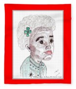 Little Girl With A Green Bow Fleece Blanket