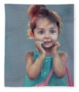 Little Girl With Purse Fleece Blanket