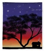Little House At Sunset Fleece Blanket