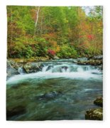 Little Pigeon River Flows In Autumn In The Smoky Mountains Fleece Blanket