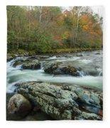 Little Pigeon River In Autumn In Smoky Mountains In Autumn Fleece Blanket