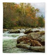 Little Pigeon River In The Greenbrier Section Of Smoky Mountains Fleece Blanket