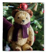 Little Sweet Teddy Bear With Knitted Scarf Under The Christmas Tree Fleece Blanket
