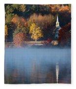 Little White Church On Crystal Lake Fleece Blanket