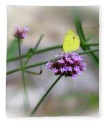 Little Yellow Butterfly On Verbena Fleece Blanket