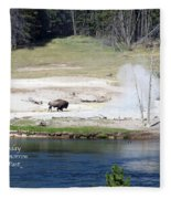 Live Dream Own Yellowstone Park Bison Text Fleece Blanket