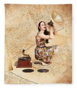 Live Music Pinup Singer Performing On Gig Guide Fleece Blanket