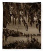 Live Oak Tree Spanigh Moss Sepia Silhouette Fleece Blanket