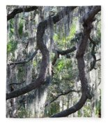 Live Oak With Spanish Moss And Palms Fleece Blanket