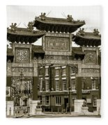 Liverpool Chinatown Arch, Gate Sepia Fleece Blanket