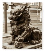 Liverpool Chinatown - Chinese Lion A Fleece Blanket