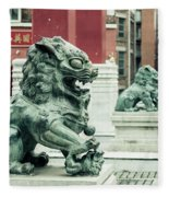 Liverpool Chinatown - Chinese Lion D Fleece Blanket