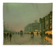 Liverpool Docks From Wapping Fleece Blanket