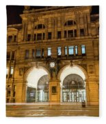 Liverpool Exchange Railway Station By Night Fleece Blanket