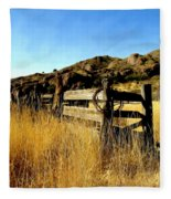 Livery Fence At Dripping Springs Fleece Blanket
