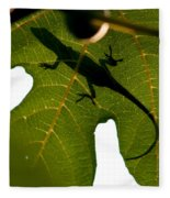 Lizard On A Fig Leaf Fleece Blanket