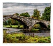 Llanrwst Bridge Panorama Fleece Blanket