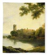 Llyn Peris And Dolbadarn Castle, North Wales Fleece Blanket