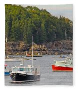 Lobster Boats In Bar Harbor Fleece Blanket