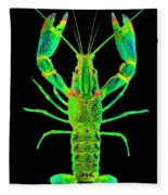 Lobster Crawfish In The Dark - Greenlime Fleece Blanket