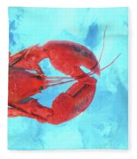 Lobster On Turquoise Fleece Blanket