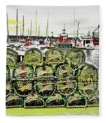 Lobster Pots Kilmore Quay, Wexford, Ireland Poster Effect 1b Fleece Blanket