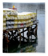Lobster Traps In Winter Fleece Blanket