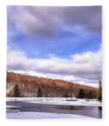 Lock And Dam Snowscape Fleece Blanket