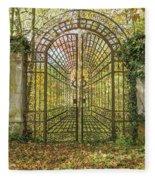 Locked Iron Gate In The Autumn Park.  Fleece Blanket