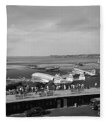 Lockheed Constellation Plane Fueling Up Fleece Blanket