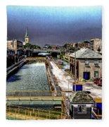 Lockport Canal Locks Fleece Blanket