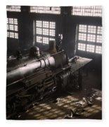 Locomotive Repair Shop - December 1942 Fleece Blanket