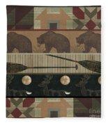 Lodge Cabin Quilt Fleece Blanket