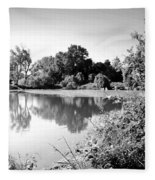 Lodi Pig Lake Reflections B And W Fleece Blanket