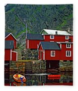 Lofoten Fishing Huts Oil Fleece Blanket