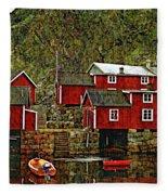 Lofoten Fishing Huts Overlay Version Fleece Blanket