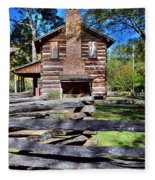Log Cabin And Wooden Fence At Ninety Six National Historic Site 2 Fleece Blanket