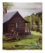 Log Cabin By The Lake Fleece Blanket