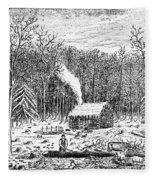 Log Cabin, C1800 Fleece Blanket