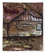 Log Cabin In Autumn Fleece Blanket