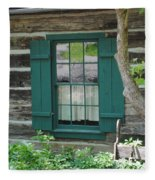 Log Cabin Window Fleece Blanket