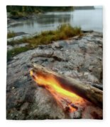 Log On Fire Manitoba Lake Wilderness Fleece Blanket