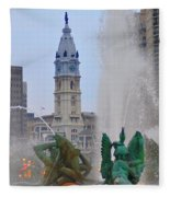 Logan Circle Fountain With City Hall In Backround 2 Fleece Blanket