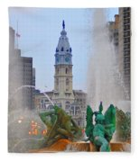 Logan Circle Fountain With City Hall In Backround 3 Fleece Blanket