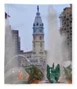 Logan Circle Fountain With City Hall In Backround 4 Fleece Blanket