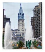 Logan Circle Fountain With City Hall In Backround Fleece Blanket