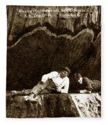 Logger With Ax On Springboard Loggers Sitting Inside Undercut  Circa 1890 Fleece Blanket